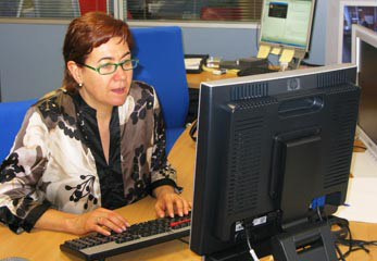 La Juani en un curso de Windows XP subvecionado por la Junta de Andalucía