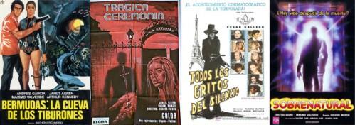 Posters de algunas de las cintas de terror en las que trabajó Máximo