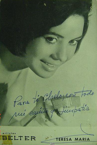 Teresa María, artista Belter, era muy cercana y dedicaba postales promocionales a sus fans