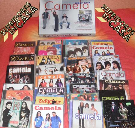 Todos los discos de Camela que he encontrado por casa. Me olvidé un single remix y el nuevo cd, pero ya no tenía ganas de hacer una nueva foto