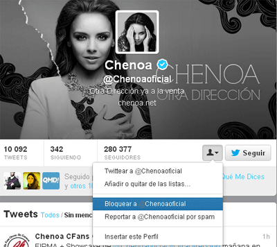 Twitter de Chenoa
