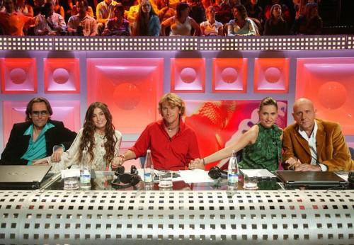 Risto Mejide, Greta, Alejandro Abad, Noemí Galera y Javier Llano en OT en la etapa de Telecinco